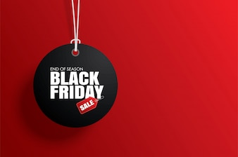 Black friday sale tag circle and the rope hanging on red