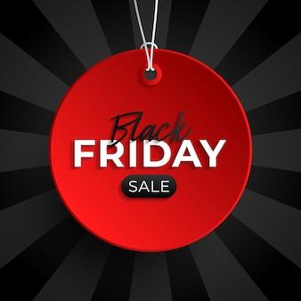 Черная пятница продажа тегов красный круг баннер и веревка, висит на черном фоне.