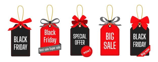 검은 금요일 판매 태그 템플릿 집합입니다. 리본, 판촉 가격 컬렉션 판매 가격 스티커 배너. 활과 슈퍼 판매 및 할인.