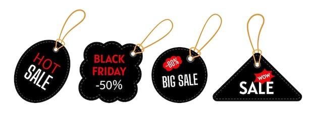 Набор шаблонов тегов продажи черная пятница. треугольные, круглые формы. большая распродажа, специальное предложение.