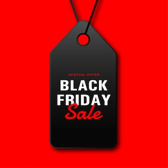 Black friday sale tag with rope