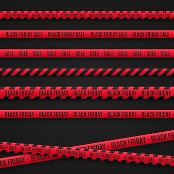 Black friday sale tapes. red ribbons on black background. graphic elements