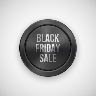 Black friday sale technology badge with metal texture.