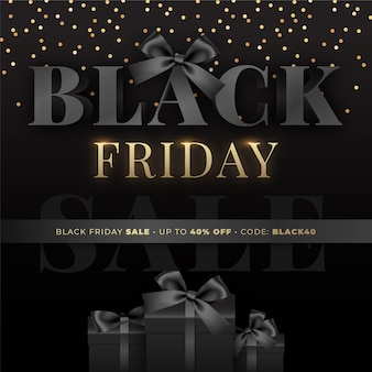 Black friday sale template with black gift boxes
