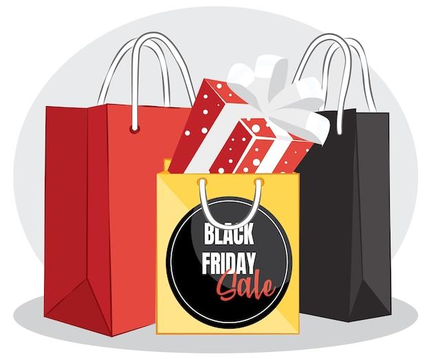 Шаблон распродажи черной пятницы с подарочной коробкой и сумкой для покупок