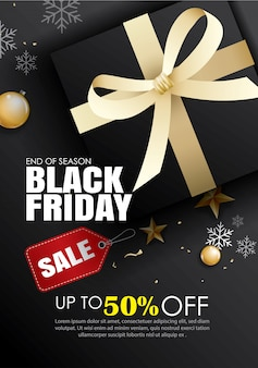 Black friday sale template with gold ribbon