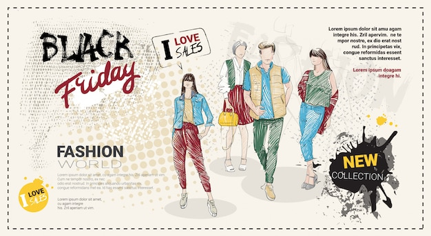 Black friday sale template with hand drawn fashion models