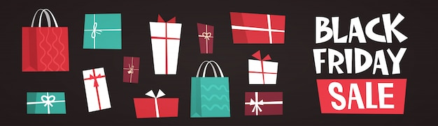Black friday sale text over different gift boxes