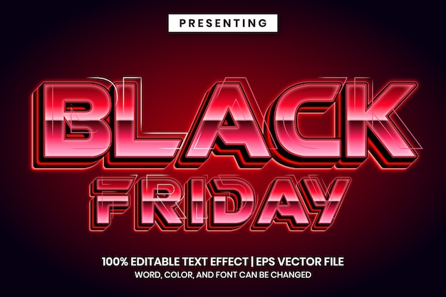 Black friday sale text effect with neon style