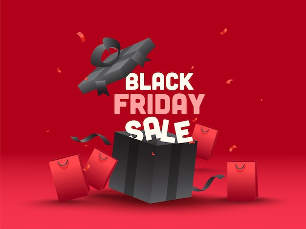 Black friday sale text with open realistic gift box