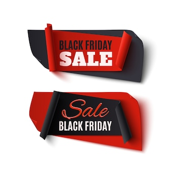Black friday sale, two abstract banners  on white background.  illustration.