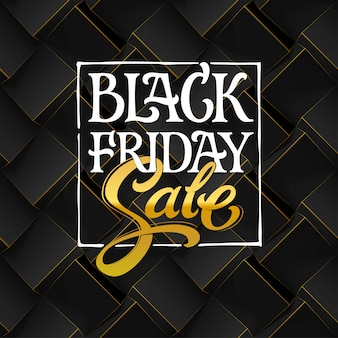Black friday sale typography on dark background. black geometric seamless pattern with volume cubes.  template for promotional banner.  illustration with hand drawn lettering.