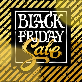 Black friday sale typography  . white letters black friday and gold sale on a black background.  illustration for banners, ads, brochures. hand lettering.