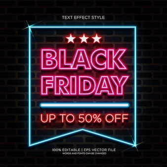 Black friday sale up 50% banner with neon text effects