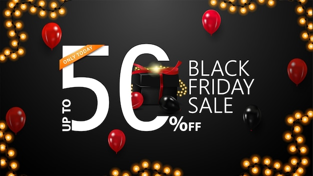 Black friday sale, up to 50% off, black discount banner with modern typographic for your website with large 3d offer