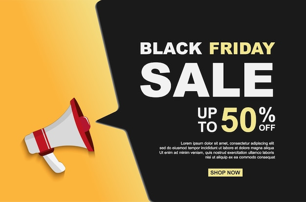 Black friday sale up to 50% off with megaphones background.