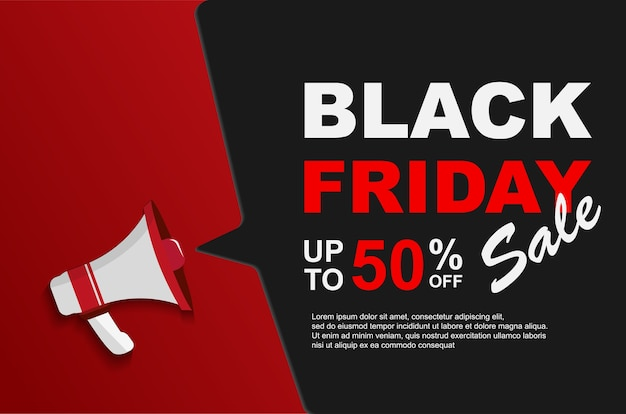 Black friday sale up to 50% off with megaphones.