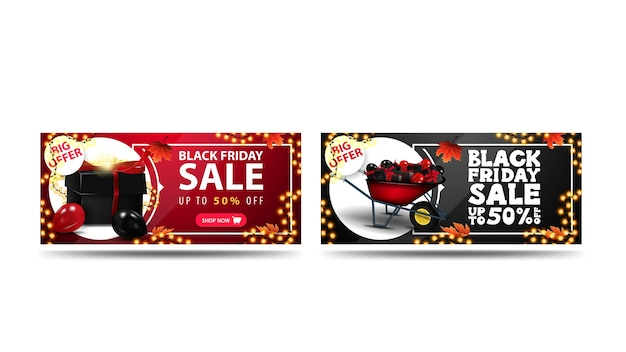 검은 금요일 판매, 최대 50 % 할인, 할인 배너 흰색 배경에 고립의 집합입니다. 빨간색과 검은 색 가로 배너 선물.