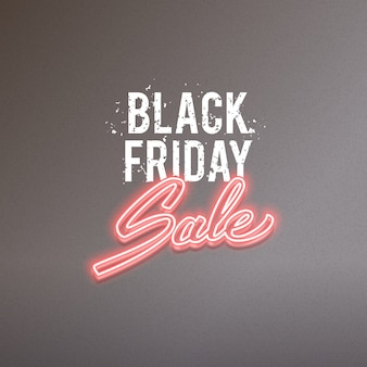 Black friday sale vector advertisement, glowing neon realistic text design