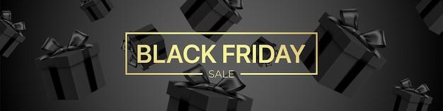 Черная пятница продажа векторных баннеров, с падающими подарочными коробками и золотыми буквами. роскошный стиль темный рекламный фон с реалистичным рисунком подарочных коробок.