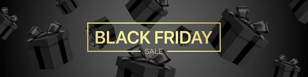 Black friday sale vector banner, with falling gift boxes and golden lettering. luxury style dark promotional background with realistic gift boxes pattern.