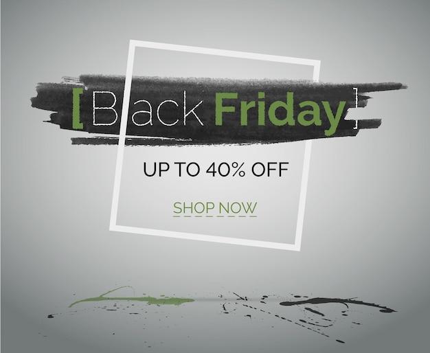 ブラックフライデーセールベクターコンセプトバナーウェブまたは広告が40%オフ。コンクリートの床と無地の背景に緑と黒の水しぶきとフレームの水彩画