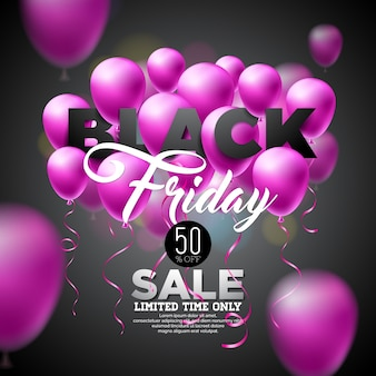 Black friday sale vector illustration with shiny balloons on dark background.