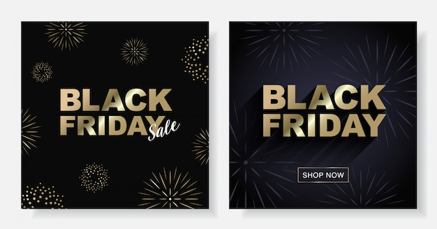 Black friday sale vector square banner