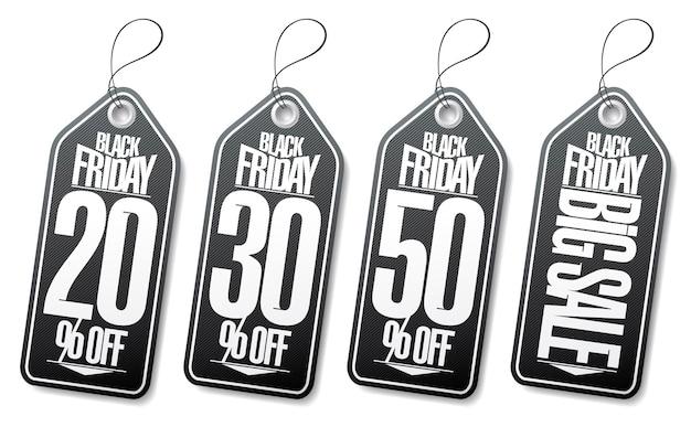 Black friday sale vector tags set  20 off 30 off 50 off big sale