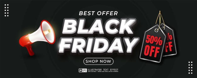 Black friday sale vertical banner on dark background template
