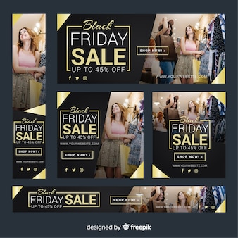 Black friday sale web banner collection with girls shopping