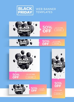 Black friday sale web banners template set.