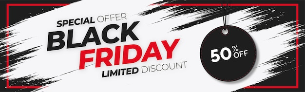 Black friday sale website banner with white splash