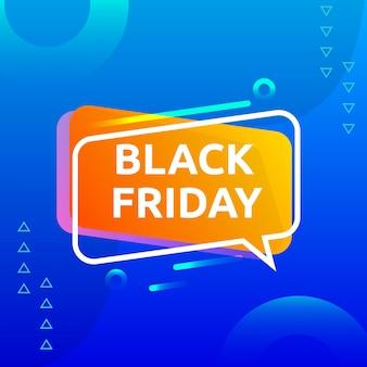 Черная пятница распродажа с абстрактной формой с градиентным синим