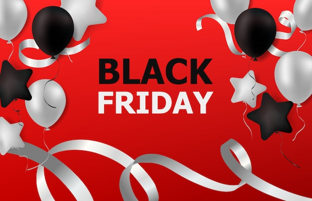 Black friday sale with balloons and ribbon on red background