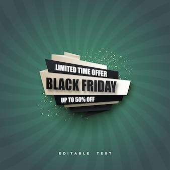 Черная пятница распродажа с черно-белым дизайном на зеленом фоне.