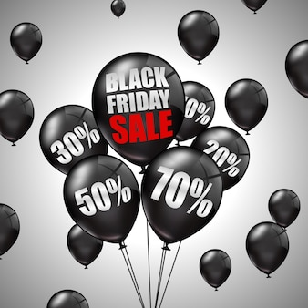 Black friday sale with black balloons and discounts