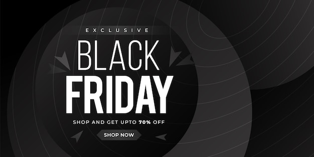 Black friday sale with black gradient abstract element on black background