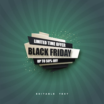 Black friday sale with black and white design on green background.