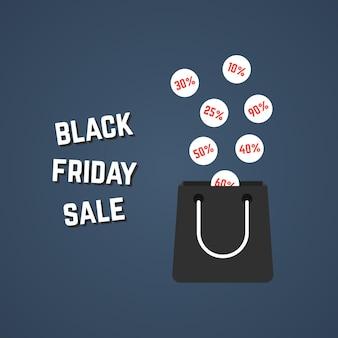 Черная пятница распродажа с падающими ценами. концепция электронной коммерции, проценты, скидки, большая распродажа, упаковка, выгодная распродажа. изолированные на стильном фоне. плоский стиль тенденции современный дизайн векторные иллюстрации