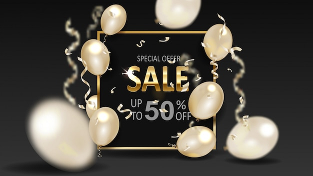 Black friday sale with frame and gold balloons.