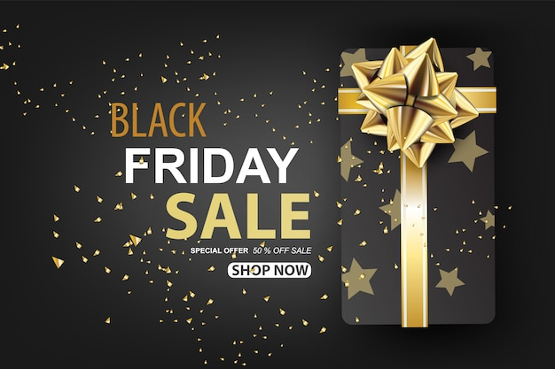 Black friday sale with gift box on gold glitter background banner.