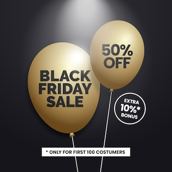 Black friday sale with gold balloons