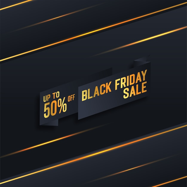 골드 컬러 배너와 함께 검은 금요일 판매
