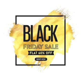 Black friday sale with golden brush on white background-