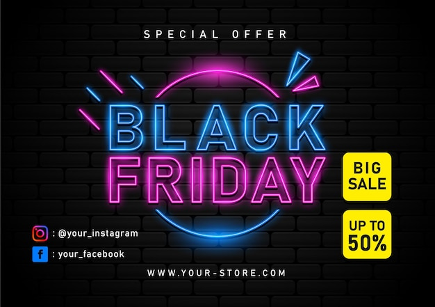 Black friday sale with neon light banner