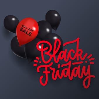 Черная пятница распродажа с одним красным и множеством черных воздушных шаров. современный 3d-дизайн с модными надписями