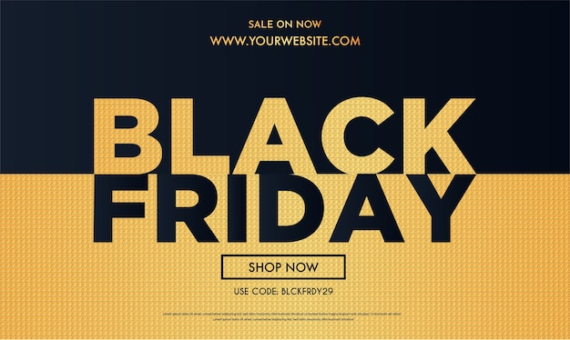 Black friday sale with realistic golden background