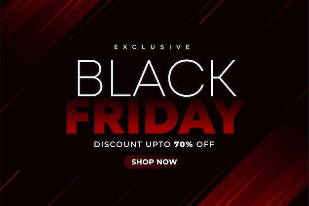 Black friday sale with red gradient abstract element on black background