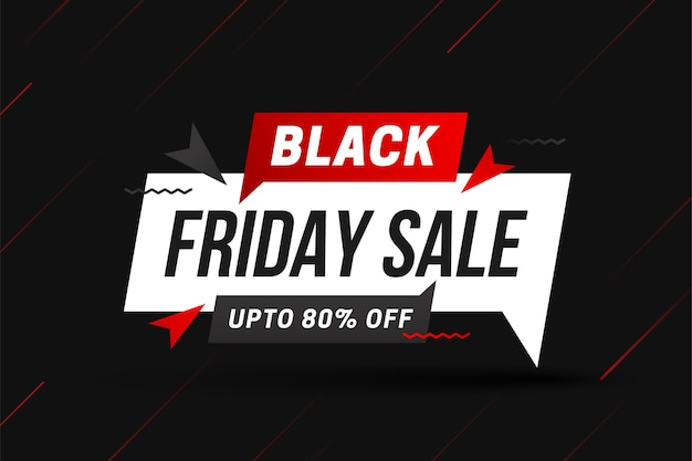 Black friday sale with red gradient abstract lines on black background